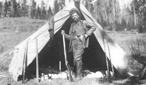 Dr. Osborne on a hunting trip - Carbon County Museum archives